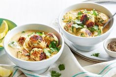 Greek chicken meatball and lemon soup. Warm up this winter with this 'soup'er Greek-inspired chicken meatball and lemon soup. Chicken Meatball Soup, Chicken Meatballs, Chicken Soup Recipes, Coles Recipe, Lemon Soup, Cooking Recipes, Healthy Recipes, Lemon Recipes, Cooking Ideas