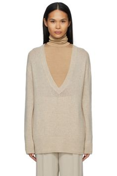 Designer Clothes, Shoes & Bags for Women   SSENSE Long Sweaters, Cashmere Sweaters, Pink Punch Recipes, Neck Collar, V Neck, Long Sleeve Sweater, Rib Knit, The Row, Taupe