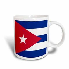 3dRose Flag of Cuba - Cuban blue stripes red triangle white star - Caribbean island country world flags, Ceramic Mug, 15-ounce
