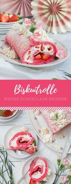 Ein Rezept für himmlisch leckere Biskuitrolle mit Weiße Schokolade Erdbeer-Füllung!