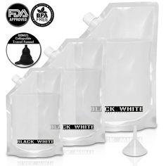 (3) Black and White Label Premium Plastic Flasks - Liquor Rum Runner Cruise Kit…