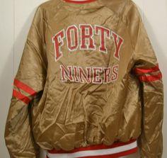 San Francisco Forty Niners 49ers Chalk Line Jacket Coat NFL Football Large Gold #ChalkLine #SanFrancisco49ers