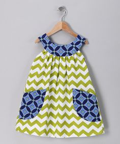 Take a look at this Green Zigzag Yoke Dress - Toddler & Girls by SILLY MILLY on #zulily today!