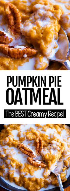 The Best Creamy Pumpkin Oatmeal Recipe Pumpkin Pie Oatmeal, Pumpkin Breakfast, Vegan Pumpkin, Pumpkin Pumpkin, Purple Pumpkin, Pumpkin Cookies, Pumpkin Dessert, Pumpkin Bread, Chip Cookies