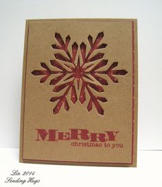 handmade Christmas card: Created by Lin for the Simon Says Stamp  .... Kraft with red ... large negative space snowflake backed in red ... clean and simple desing ... great card!