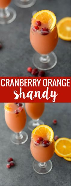 Cranberry Orange Beer Shandy! You've gotta try this three ingredient cocktail, perfect for holiday and christmas entertaining. Refreshing, delicious and can easily be made into pitchers for parties. | www.delishknowledge.com #holiday #thanksgiving #christmas #entertaining #cocktails #beercocktail #beverage #vegan #cranberry #orange #glutenfree