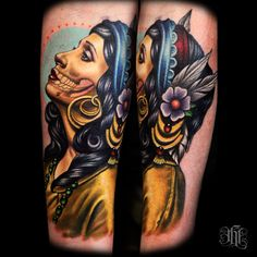 Like: Traditional gypsy pose, detail. Minus the skull stuff, color of shirt, type of flower.