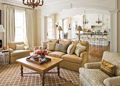 cream living room, open to floorplan