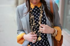 love the polka dot top over the button down - so chic