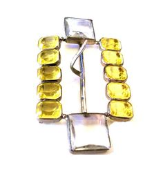 Vintage Art Deco Yellow/Citrine Czech Glass Rhinestone Belt Buckle, Signed, Sash Buckle, Czech Glass Jewelry, VisionsOfOlde