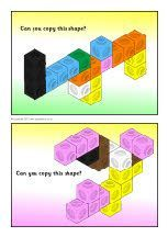 Connecting cube shapes prompt cards
