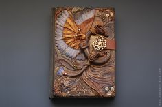 Honey Dragon Polymer Clay journal cover by Mandarinduck