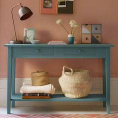 Coral-blush-pink-hallway-with-blue-console-table hallway decorating Hallway Colour Schemes, Hallway Colours, Color Schemes, Hallway Console, Hallway Furniture, Console Tables, Hallway Table Decor, Office Furniture, Decorating Long Hallway