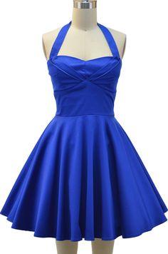halter top sun dress with petal bust detail - solid blue