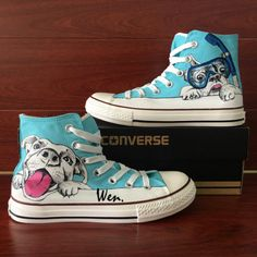 f4247997eca8 Converse Hand Painted Pet Pug Dog Swimming Pool Canvas Unisex Sneakers