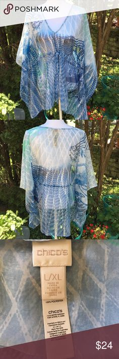 """Chicos Boho Sheer Poncho Blue Green Flowy NWOT From my closet...New without tags. Sheer and flowy. 27"""" long.100% polyester. Chico's Tops"""