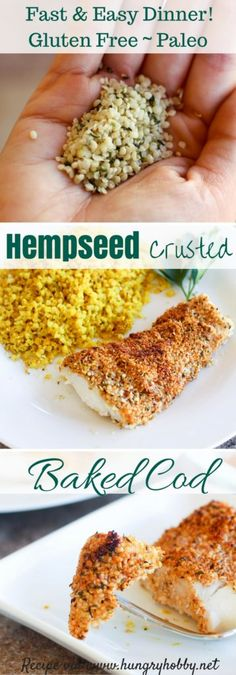 Hemp Seed Crusted Baked Cod- Hemp seed crusted cod is the perfect easy dinner featuring a crunchy, slightly spicy crust on top a perfectly cooked flaky fillet of fish. Cod Recipes, Fish Recipes, Seafood Recipes, Salad Recipes, Snack Recipes, Healthy Low Carb Recipes, Vegan Recipes, Healthy Food, Fisher