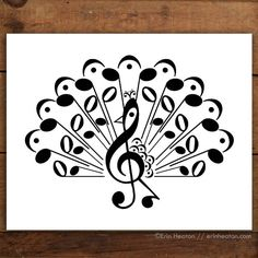This pretty peacock is created entirely with music notes and symbols. Archival quality fine art print is printed in deep black on bright white, acid-free, cotton rag fine art paper, and is a Music Notes Art, Music Wall Art, Music Crafts, Music Decor, Musician Gifts, Art Mural, Wall Art Designs, Design Art, Fine Art Paper