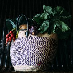 Handmade Basket With Leather Handles – Multicoloured | Nabatea • Exotic Goods #fashion #accessories #bag #purse