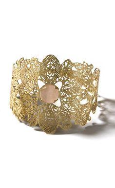 pink rose Quartz stone bracelet metal lace wide