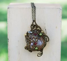 Wire Wrap Mystery Egyptian Lady Natural Brown Agate Necklace Gypsy Bohemian #Jeanninehandmade #Pendant