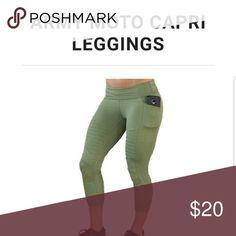 5514331272e15 Workout leggings with POCKETS Capri length squat-approved leggings with  side pockets. Army green
