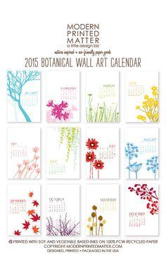 2015 Wall Calendar / Botanical por ModernPrintedMatter en Etsy