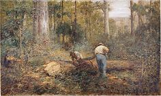 Bush Sawyers - Frederick McCubbin hand-painted oil painting replica, Men Sawing Timber in Forest,Lumberjacks,two foresters under giant trees Australian Painting, Australian Artists, Oscar Wilde, Sawyer Fredericks, Giant Tree, Large Painting, Original Paintings, Oil Paintings, Things To Come