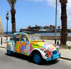 Handelskade Curacao, Riffort, Duck, Caribbean art, colorfull Willemstad, Mirjam Griffioen Vw Bus, Volkswagen, Rio Grande, 2cv6, Van Car, Automotive Art, Car Painting, Small Cars, Car Wrap