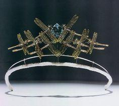 Lalique dragonfly aquamarine tiara, c.1900