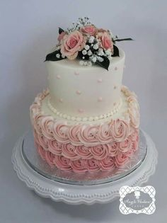 trendy birthday cake for women roses baby shower trendy birthday cake fo. New Birthday Cake, Birthday Cakes For Women, Bridal Shower Cakes, Baby Shower Cakes, Shower Baby, Fondant Cakes, Cupcake Cakes, Sweets Cake, Beautiful Cakes