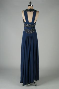 ~Vintage 1930's Petrol Blue Jeweled Bias Gown with Belt back view~