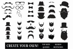 beard clipart mustache clipart monocle clipart top hat by LensBug