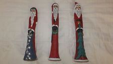 Woodland Ceramic Stick Santa Clauses 3 Christmas Hand painted Figures Long