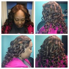 Honey blonde full sew in lace closure with wand curls.  Www.styleseat.com/luxelengths
