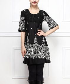 Another great find on #zulily! Black & White Tapestry Shift Dress by Reborn Collection #zulilyfinds