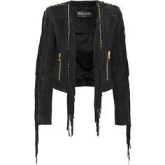 Balmain Cropped fringed suede jacket ($1,557) ❤ liked on Polyvore featuring outerwear, jackets, black, slim jacket, suede jacket, balmain, balmain jacket and slim fit jackets