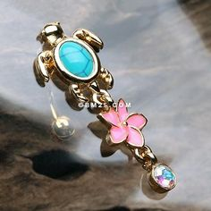 14G Rose Gold Colored Boho Paisley Turquoise Colored Belly Button Ring 1.6mm - Sold Individually