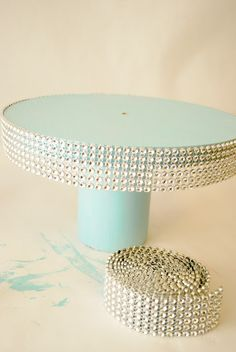 The Silly Pearl {Handmade}: Jeweled Monogrammed Wedding Cake Topper and Cake Stand