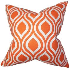 Shop for Larch Geometric Orange Feather Filled Throw Pillow. Free Shipping on…