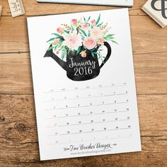 Printable Calendar 2016  October-December by TwoBrushesDesigns