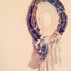 6 inch natural hippie dream catcher // boho chic native american dreamcatcher with feathers and flowers