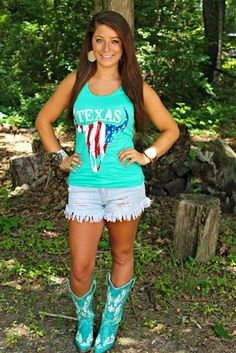 Texas Steer Tank - Mint ($22.99) #SouthernFriedChics