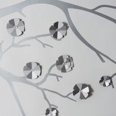 Décor mural Stickers 3D Branche de cerisier argent © Emma Roux