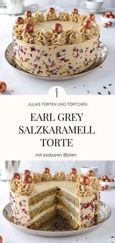 Earl Grey Salzkaramell Torte Festliches Rezept für extravagante Earl Grey Torte mit Mascarpone Füllung uns Salzkaramell. Schön dekoriert mit essbaren Blüten.