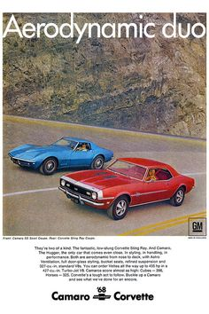 muscle car ads | 1968 Chevrolet Corvette And Camaro | Muscle Car Ads