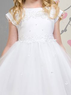 Satin with Tulle Communion Dress - First Communion Dresses