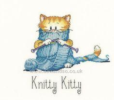 Buy Knitty Kitty Cross Stitch Kit Online at www.sewandso.co.uk