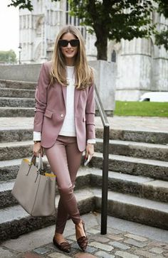 Olivia Palermo Plum And Neutral Outfit 2017 Street Style