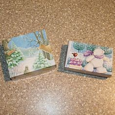 recycle old Christmas cards into gift boxes